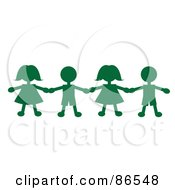 Line Of Green Paper Doll Boys And Girls Holding Hands