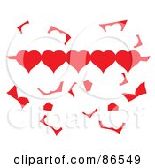Royalty Free RF Clipart Illustration Of A Row Of Paper Hearts With Scraps by Pams Clipart