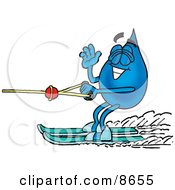 Clipart Picture Of A Water Drop Mascot Cartoon Character Waving While Water Skiing