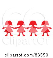 Royalty Free RF Clipart Illustration Of A Line Of Red Paper Doll Girls Holding Hands