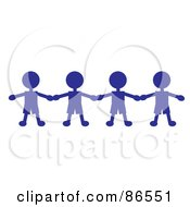 Line Of Blue Paper Doll Boys Holding Hands