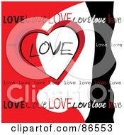 Royalty Free RF Clipart Illustration Of A Red White And Black Love Heart Background by Pams Clipart