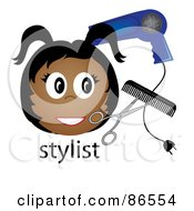 Royalty Free RF Clipart Illustration Of A Black Stylist Over The Word With A Blow Dryer Scissors And Comb