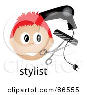 Royalty Free RF Clipart Illustration Of A Red Haired Male Stylist Over The Word With A Blow Dryer Scissors And Comb