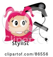Royalty Free RF Clipart Illustration Of A Pink Haired Stylist Over The Word With A Blow Dryer Scissors And Comb by Pams Clipart