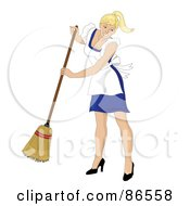 Blond Caucasian Maid Smiling And Sweeping