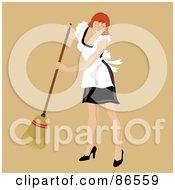 Royalty Free RF Clipart Illustration Of A Red Haired Caucasian Maid Smiling And Sweeping