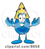 Clipart Picture Of A Water Drop Mascot Cartoon Character Wearing A Birthday Party Hat by Toons4Biz