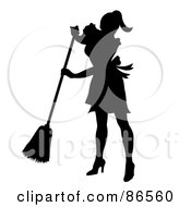 Royalty Free RF Clipart Illustration Of A Silhouetted Maid Smiling And Sweeping