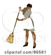 Royalty Free RF Clipart Illustration Of A Hispanic Maid Smiling And Sweeping