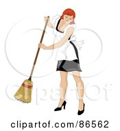 Royalty Free RF Clipart Illustration Of A Redhead Maid Smiling And Sweeping
