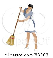Royalty Free RF Clipart Illustration Of A Latina Maid Smiling And Sweeping by Pams Clipart