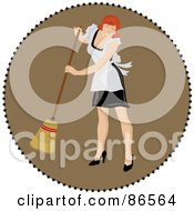 Royalty Free RF Clipart Illustration Of A Brown Circle Of A Red Haired Maid Sweeping by Pams Clipart
