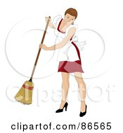 Royalty Free RF Clipart Illustration Of A Brunette Caucasian Maid Smiling And Sweeping