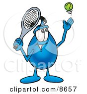 Clipart Picture Of A Water Drop Mascot Cartoon Character Preparing To Hit A Tennis Ball