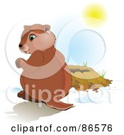 Royalty Free RF Clipart Illustration Of A Cute Groundhog Sitting Beside His Hole Looking At His Shadow