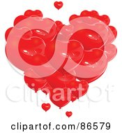 Group Of Red Heart Balloons Forming A Giant Heart