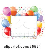 Royalty Free RF Clipart Illustration Of A Blank Text Box Bordered With Confetti And Colorful Party Balloons by Pushkin