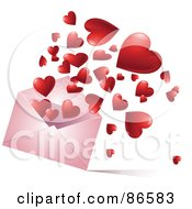 Royalty Free RF Clipart Illustration Of A Red Hearts Bouncing And Floating Out Of A Pink Envelope