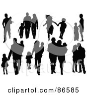 Royalty Free RF Clipart Illustration Of A Digital Collage Of Silhouetted Families In Eight Different Poses by Pushkin