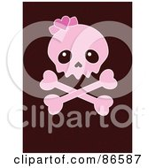 Royalty Free RF Clipart Illustration Of A Pink Girly Skull And Crossbones Over Brown by Pushkin