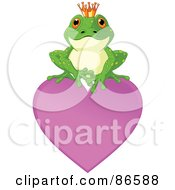 Royalty Free RF Clipart Illustration Of A Cute Frog Prince Perched On Top Of A Purple Heart by Pushkin