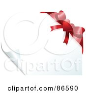 Royalty Free RF Clipart Illustration Of A Page Turning On A White Background With A Red Heart Bow