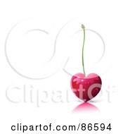 Royalty Free RF Clipart Illustration Of A Shiny Heart Cherry With A Straight Stem On A Reflective Surface With Text Space