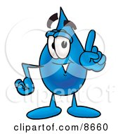 Clipart Picture Of A Water Drop Mascot Cartoon Character Waving His Finger While Lecturing by Toons4Biz