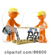 Royalty Free RF Clipart Illustration Of A 3d Orange Couple Positioning Lumber On A Saw Horse