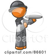 Royalty Free RF Clipart Illustration Of An Orange Man Butler Serving A Platter