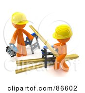 Royalty Free RF Clipart Illustration Of A 3d Orange Couple Using Saw Horses To Saw Lumber by Leo Blanchette