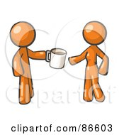 Royalty Free RF Clipart Illustration Of An Orange Man Giving A Woman A Cup Of Coffee