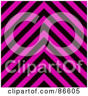 Royalty Free RF Clipart Illustration Of A Pink And Black Zig Zag Hazard Stripes Background