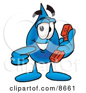 Clipart Picture Of A Water Drop Mascot Cartoon Character Holding A Telephone by Toons4Biz