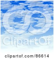 Royalty Free RF Clipart Illustration Of A Cloudscape With White Clouds Over Blue