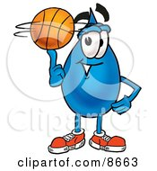 Clipart Picture Of A Water Drop Mascot Cartoon Character Spinning A Basketball On His Finger