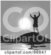 Royalty Free RF Clipart Illustration Of A Silhouetted Successful Man Celebrating Victory On A Hill Over Water by Arena Creative