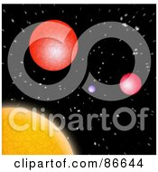 Royalty Free RF Clipart Illustration Of A Colorful Solar System In Space by Arena Creative