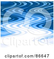 Royalty Free RF Clipart Illustration Of A Wavy White And Blue Ripply Background by Arena Creative