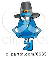 Clipart Picture Of A Water Drop Mascot Cartoon Character Wearing A Pilgrim Hat On Thanksgiving by Toons4Biz