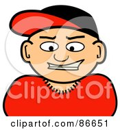 Royalty Free RF Clipart Illustration Of A Caucasian Man Wearing A Baseball Cap by Arena Creative