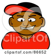 Royalty Free RF Clipart Illustration Of A Black Man Wearing A Baseball Cap by Arena Creative