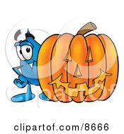 Clipart Picture Of A Water Drop Mascot Cartoon Character With A Carved Halloween Pumpkin by Toons4Biz