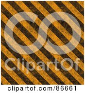 Royalty Free RF Clipart Illustration Of A Grungy Textured Background Of Diagonal Hazard Stripes