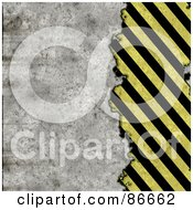 Royalty Free RF Clipart Illustration Of A Grungy Textured Background Of Cement And Diagonal Hazard Stripes by Arena Creative