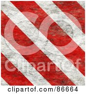 Royalty Free RF Clipart Illustration Of A Background Of Grungy Red And White Hazard Stripes by Arena Creative