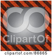 Royalty Free RF Clipart Illustration Of A Center With A Black And Orange Hazard Stripes Border by Arena Creative