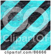 Royalty Free RF Clipart Illustration Of A Background Of Grunge Textured Blue And Black Hazard Stripes