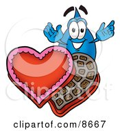 Clipart Picture Of A Water Drop Mascot Cartoon Character With An Open Box Of Valentines Day Chocolate Candies